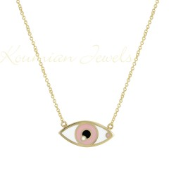 14K GOLD EYE NECKLACE WITH PINK AND WHITE ENAMEL HANDMADE KOUMIAN