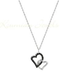 DOUBLE HEART WHITE GOLD AND CHAIN 14 K KOUMIAN KOL49