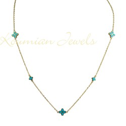 GOLD NECKLACE WITH CROSSES WITH BLUE ENAMEL 14K DESIGNED IN ITALY KOUMIAN KOL52