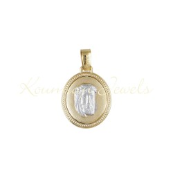 14K GOLD CHRIST'S HEAD AND KOSTANTINATO TWO-COLOR KUMIAN KO57 FOR A BOY