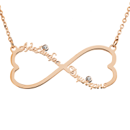 Infinity Heart WITH 2 names and zircon in silver pink yellow color