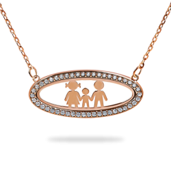 Silver Oval Pendant Horizontal Frame with Stones - Family