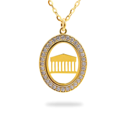 SILVER Oval Pendant Frame with Stones - Acropolis Symbol