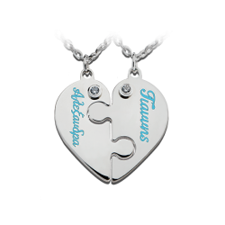 Heart puzzle - letters with enamel and 2 zircons