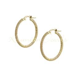 EARRINGS RINGS GOLD 14K SATINE KR4 ITALIAN DESIGN KUMIAN