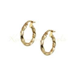 EARRINGS RINGS GOLD 14K VARNISH CURVES ITALIAN DESIGN KUMIAN KR5