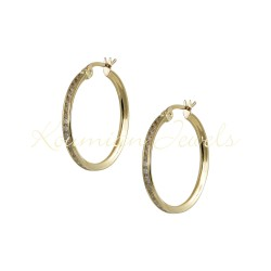 EARRINGS GOLD RINGS 14K POLISHED WITH WHITE ZIRCON KUMIAN ΚΡ6