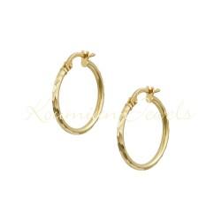EARRINGS GOLD RINGS 14K VARNISHES WITH RECTANGULAR DESIGN ITALIAN KUMIAN KR7