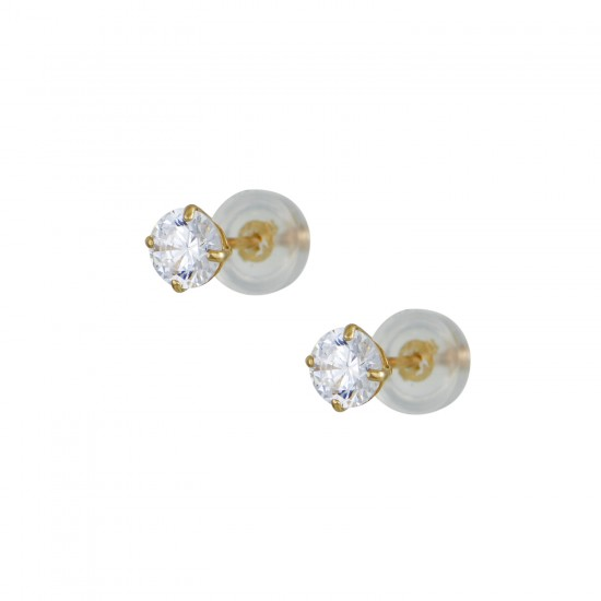 GOLD EARRINGS 14 KARAT NECKLACES WITH WHITE ZIRCON 4mm KUMIAN ER2611