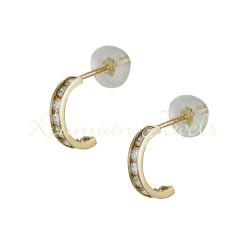 EARRINGS HALF HALF GOLD K 14 WITH WHITE ZIRCON ITALIAN DESIGN ER724