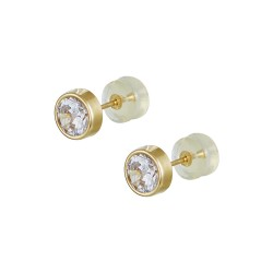 14ct gold earrings NAILS WITH WHITE ZIRCON 6MM AND FRAME SK29