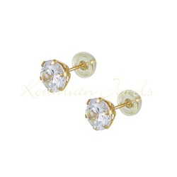14ct gold earrings NAILS WITH WHITE ZIRCON 6 6.5 MM SK53