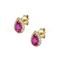 14ct Gold Earrings ROSETTE DROP WITH RED AND WHITE ZIRCON SK70