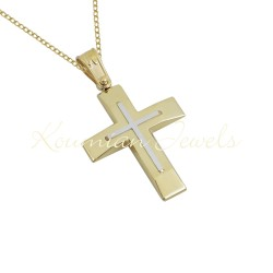 BAPTISM CROSS 14K GOLD WITH CHAIN ​​MEN-BOY UNISEX VINTAGE HANDMADE KUMIAN F081