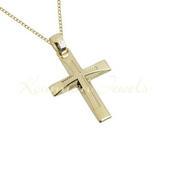BAPTISM CROSS GOLD 14 K WITH CHAIN ​​MEN BOY UNISEX VINTAGE HANDMADE KUMIAN F083