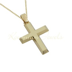BAPTISM CROSS GOLD 14 K WITH CHAIN ​​MEN BOY UNISEX VINTAGE HANDMADE KUMIAN F085