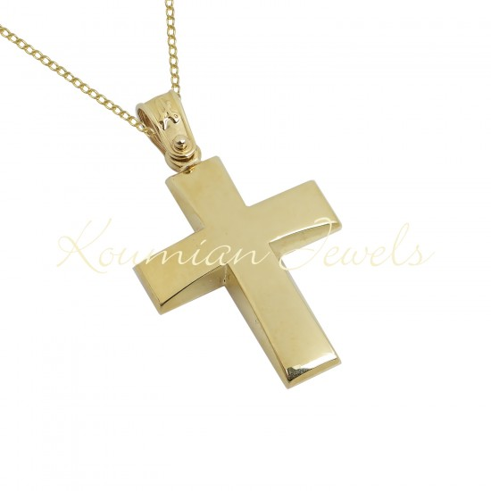BAPTISM CROSS GOLD 14 K WITH CHAIN MEN BOY UNISEX VINTAGE HANDMADE KUMIAN F088