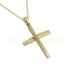 BAPTISM CROSS GOLD 14 K WITH CHAIN MEN BOY UNISEX VINTAGE HANDMADE KUMIAN F089