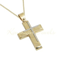 BAPTISM CROSS GOLD 14 K WITH CHAIN MEN BOY UNISEX VINTAGE HANDMADE KUMIAN F090