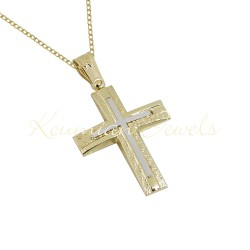 BAPTISM CROSS 14K GOLD WITH CHAIN ​​MEN BOY UNISEX VINTAGE HANDMADE KUMIAN F096