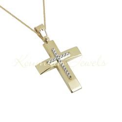 BAPTISM CROSS GOLD 14 K WITH CHAIN WOMAN WITH ZIRCONIA STONES HANDMADE KUMIAN F102