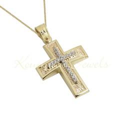 BAPTISM CROSS GOLD 14 K WITH CHAIN WOMAN WITH ZIRCONIA STONES HANDMADE KUMIAN F103