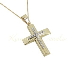 BAPTISM CROSS GOLD 14 K WITH CHAIN WOMAN WITH ZIRCONIA STONES HANDMADE KUMIAN F104