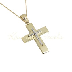 BAPTISM CROSS GOLD 14 K WITH CHAIN WOMAN WITH ZIRCONIA STONES HANDMADE KUMIAN F105