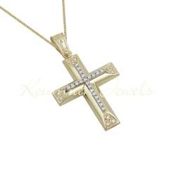 BAPTISM CROSS GOLD 14 K WITH CHAIN WOMAN WITH ZIRCONIA STONES HANDMADE KUMIAN F107