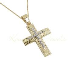 BAPTISM CROSS GOLD 14 K WITH CHAIN WOMAN WITH ZIRCONIA STONES HANDMADE KUMIAN F109