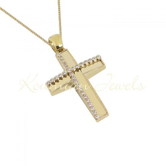 BAPTISM CROSS GOLD 14 K WITH CHAIN WOMAN WITH ZIRCONIA STONES HANDMADE KUMIAN F113