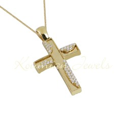 BAPTISM CROSS GOLD 14 K WITH CHAIN WOMAN WITH ZIRCONIA STONES DOUBLE FACE F118