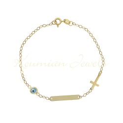 Gold unisex ID with cross and k14 eye for free