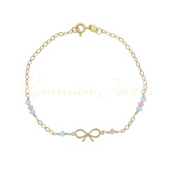 14K GOLD BRACELET WITH INFINITY AND BLUE - PINK ZIRCON BR1004