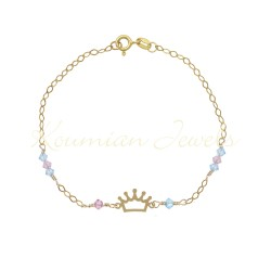 14 k gold bracelet with crown and aqua marine rozaline stones