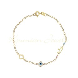 14K GOLD BRACELET WITH CROWN CROSS CURVEL MATI CROSS POLISHED AND ROSAL HANDMADE