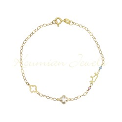 14K GOLD BRACELET WITH CROWN CROSS CURRENT CROSS CHURCH AND ROSAL HANDMADE