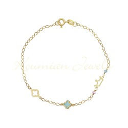 14ct GOLD BRACELET WITH TURQUOISE CROSS CROWN AND ROSAL STONES HANDMADE