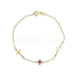 14K GOLD BRACELET WITH CROWN CROWN AND EYE PINK HANDMADE HANDMADE