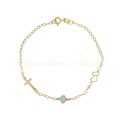14K GOLD BRACELET WITH TURQUOISE CROSS AND DOUBLE HEART HANDMADE HANDMADE