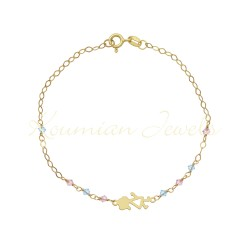 14ct GOLD BRACELET WITH LASER CUT GIRL WITH ROZALINE K AQUA STONES HANDMADE HANDMADE