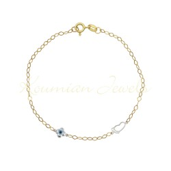 GOLD BRACELET WITH WHITE GOLD SLIP AND CROSS EYE FILM 14 KARAT BR1002 HANDMADE